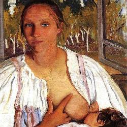 kormilica s rebenkom zinaida serebryakova 1913