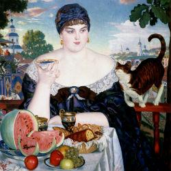 Купчиха за чаем - Борис Кустодиев, 1918