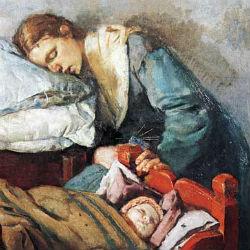 Спящая мать с ребенком - Кристиан Крог, 1883