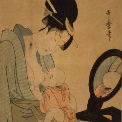 zhenschina kormjaschaja rebenka Kitagawa Utamaro 18 vek